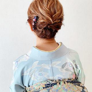 訪問着 着物 エレガント 結婚式 ヘアスタイルや髪型の写真・画像