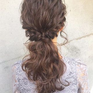 ヘアアレンジ フェミニン 結婚式 ポニーテール ヘアスタイルや髪型の写真・画像