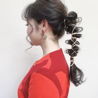 ヘアアレンジ モード 結婚式 セミロング ヘアスタイルや髪型の写真・画像