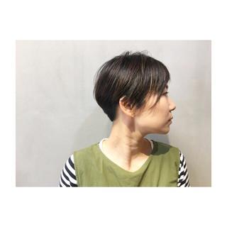 オリーブアッシュ 前髪あり ネイビーアッシュ ショート ヘアスタイルや髪型の写真・画像 ヘアスタイルや髪型の写真・画像