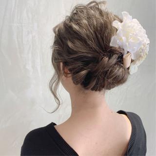 結婚式ヘアアレンジ 結婚式 外国人風カラー セミロング ヘアスタイルや髪型の写真・画像