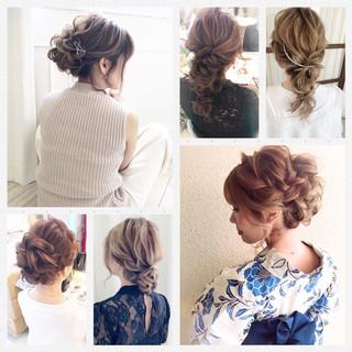 ロング 簡単ヘアアレンジ 結婚式 ナチュラル ヘアスタイルや髪型の写真・画像