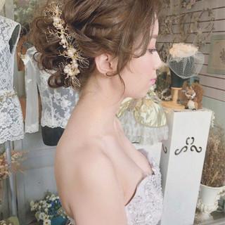 パーティ エレガント 結婚式 ヘアアレンジ ヘアスタイルや髪型の写真・画像