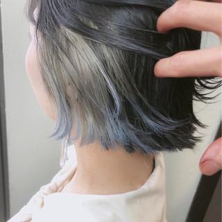 モード グレー ボブ インナーカラー ヘアスタイルや髪型の写真・画像