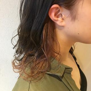 オレンジ ミディアム アプリコットオレンジ オレンジベージュ ヘアスタイルや髪型の写真・画像 ヘアスタイルや髪型の写真・画像