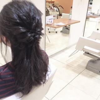セミロング 大人女子 ショート ハーフアップ ヘアスタイルや髪型の写真・画像