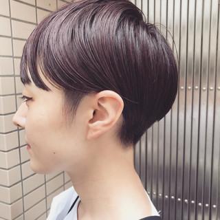 モーブ 透明感 ストレート ナチュラル ヘアスタイルや髪型の写真・画像