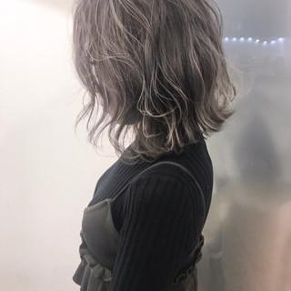 リラックス ボブ ハイライト ナチュラル ヘアスタイルや髪型の写真・画像