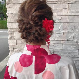 シニヨン ガーリー ヘアアレンジ ロング ヘアスタイルや髪型の写真・画像