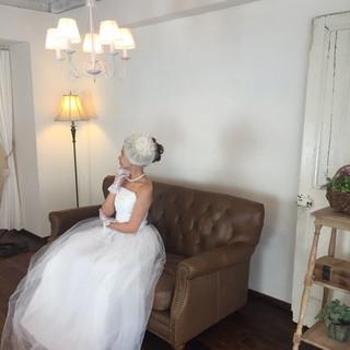 結婚式 ブライダル フェミニン 結婚式ヘアアレンジ ヘアスタイルや髪型の写真・画像