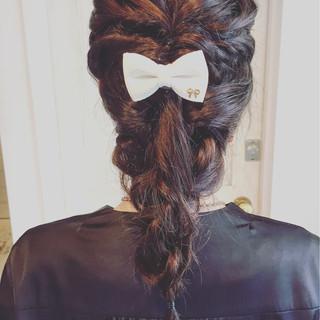 くるりんぱ ショート 結婚式 セミロング ヘアスタイルや髪型の写真・画像