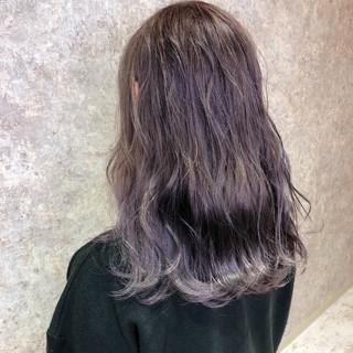 ヘアセット ピンクラベンダー セミロング イルミナカラー ヘアスタイルや髪型の写真・画像
