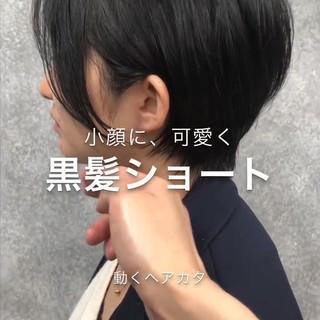 縮毛矯正 耳掛けショート ショート ナチュラル ヘアスタイルや髪型の写真・画像