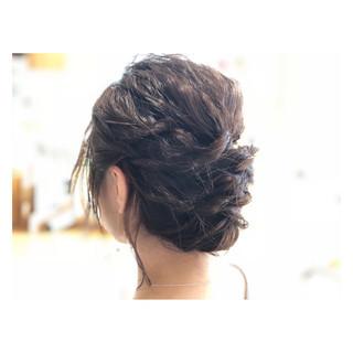 ボブ 結婚式 ねじり 波ウェーブ ヘアスタイルや髪型の写真・画像
