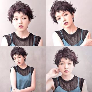 ショート ヘアアレンジ 暗髪 モード ヘアスタイルや髪型の写真・画像