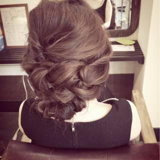 結婚式 アップスタイル 編み込み ねじり ヘアスタイルや髪型の写真・画像