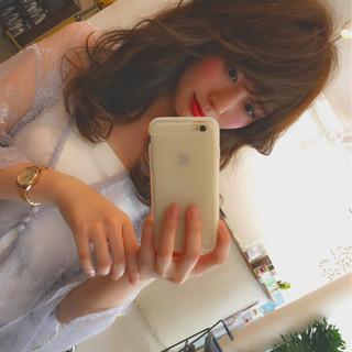 セミロング かわいい フェミニン 大人かわいい ヘアスタイルや髪型の写真・画像