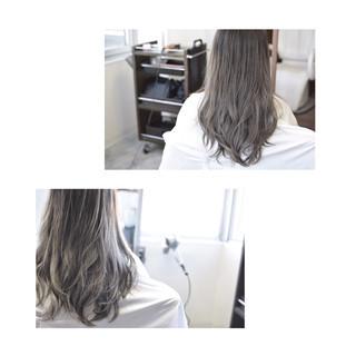 外国人風カラー セミロング バレイヤージュ グラデーションカラー ヘアスタイルや髪型の写真・画像
