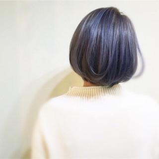 ブルージュ ストリート ブルーアッシュ ボブ ヘアスタイルや髪型の写真・画像