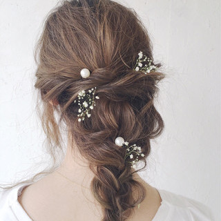 セミロング 結婚式 ルーズ パーティ ヘアスタイルや髪型の写真・画像