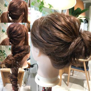 簡単ヘアアレンジ ショート お団子 セミロング ヘアスタイルや髪型の写真・画像 ヘアスタイルや髪型の写真・画像