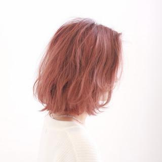 ボブ 無造作 ガーリー ピンク ヘアスタイルや髪型の写真・画像