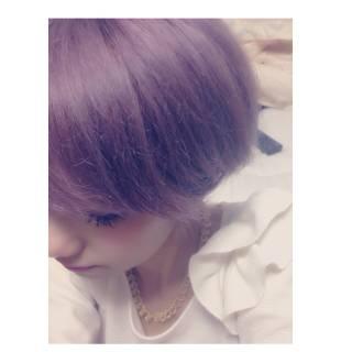 ピンク パープル 秋 ヘアスタイルや髪型の写真・画像