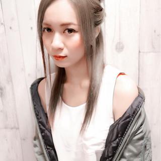ヘアアレンジ ストリート アッシュ セミロング ヘアスタイルや髪型の写真・画像