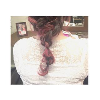 ショート セミロング ピンク ストリート ヘアスタイルや髪型の写真・画像