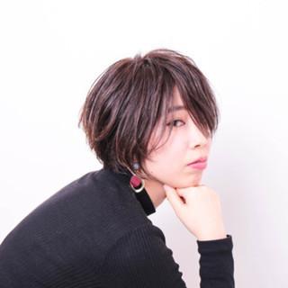 暗髪 ハイライト ボブ ナチュラル ヘアスタイルや髪型の写真・画像
