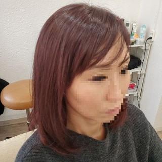 艶髪 レイヤーボブ ラベンダーピンク ナチュラル ヘアスタイルや髪型の写真・画像