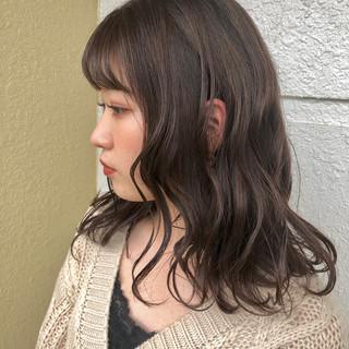 ピンク ラベンダーピンク セミロング 外国人風カラー ヘアスタイルや髪型の写真・画像