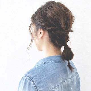 フィッシュボーン ヘアアレンジ 簡単ヘアアレンジ ロープ編み ヘアスタイルや髪型の写真・画像