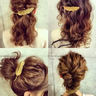 フェミニン ルーズ ヘアアレンジ フィッシュボーン ヘアスタイルや髪型の写真・画像 ヘアスタイルや髪型の写真・画像