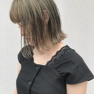パーティ 外ハネ ロブ ハイライト ヘアスタイルや髪型の写真・画像