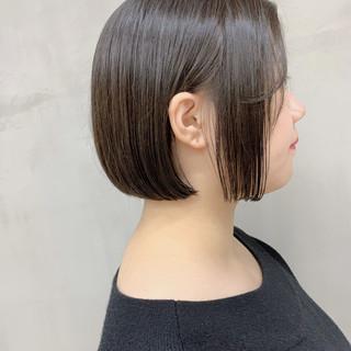 ミニボブ ラベンダーグレージュ ショートボブ シアーベージュ ヘアスタイルや髪型の写真・画像