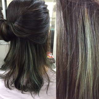 ハイライト ショート 簡単ヘアアレンジ セミロング ヘアスタイルや髪型の写真・画像