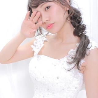 結婚式ヘアアレンジ 撮影 エレガント 編みおろしヘア ヘアスタイルや髪型の写真・画像
