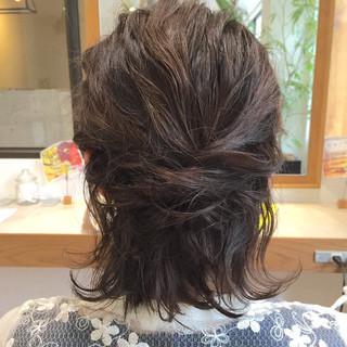 ハーフアップ 切りっぱなし 簡単ヘアアレンジ ウェットヘア ヘアスタイルや髪型の写真・画像 ヘアスタイルや髪型の写真・画像