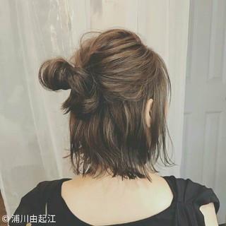 インナーカラー 簡単ヘアアレンジ ボブ ナチュラル ヘアスタイルや髪型の写真・画像