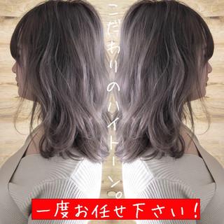 外国人風カラー 外国人風 ミディアム ナチュラルベージュ ヘアスタイルや髪型の写真・画像
