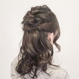 結婚式 ヘアアレンジ ナチュラル セミロング ヘアスタイルや髪型の写真・画像