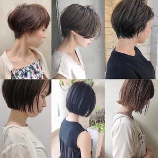 ミニボブ 切りっぱなしボブ ベリーショート ショートヘア ヘアスタイルや髪型の写真・画像