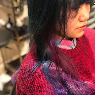 バイオレット ブルー ブリーチカラー ロング ヘアスタイルや髪型の写真・画像