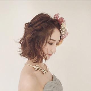 結婚式 ナチュラル ヘアアレンジ ボブ ヘアスタイルや髪型の写真・画像