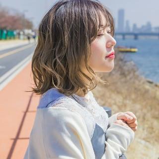 韓国ヘア ボブ パーマ 韓国風ヘアー ヘアスタイルや髪型の写真・画像