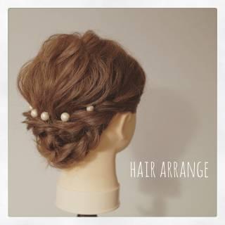 ナチュラル ヘアアレンジ ブライダル ミディアム ヘアスタイルや髪型の写真・画像