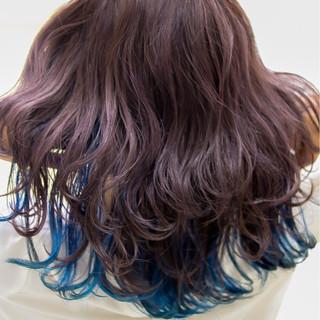 パープル ハイトーン ガーリー インナーカラー ヘアスタイルや髪型の写真・画像