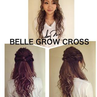 ロング 編み込み かわいい ハーフアップ ヘアスタイルや髪型の写真・画像