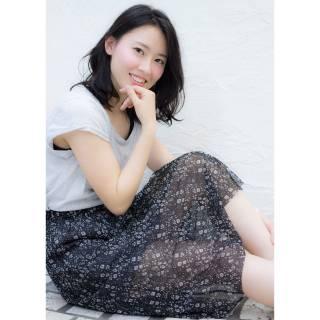黒髪 フェミニン 卵型 ミディアム ヘアスタイルや髪型の写真・画像